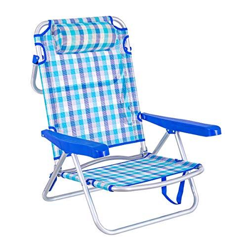 LOLAhome Silla de Playa con cojín de 4 Posiciones de Aluminio y textileno (Azul Cuadros)