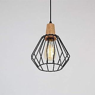 Glighone Suspension Luminaire Industrielle Lustre Plafonnier Vintage Rétro E27 Edison Culot Abat-jour en Métal Cage pour C...