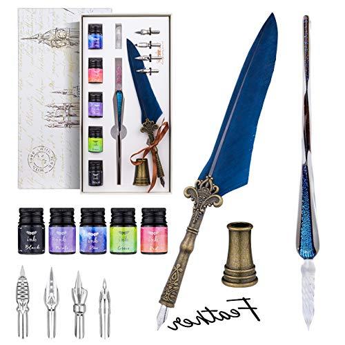 Feder und Tinte Set, Vintage Kalligraphie Glas Dip Pen Set mit 4 Ersatzspitzen, 5 Tinten, glatte Kalligraphie getauchte Stift Tinte Kit für Geburtstagsgeschenk, Schreiben, Zeichnen