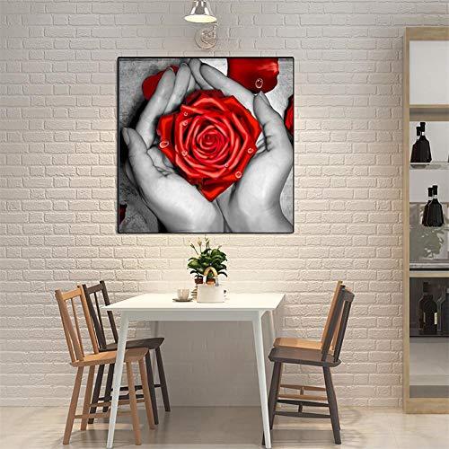 DIY 5D Kits de Pintura de Diamante Taladro Completo Palmera rosa Adultos Diamond Painting Redondo Rhinestone Bordado Punto de Cruz Artes lienzo Para Decoración de Pared de Sala de Estar 25x25cm