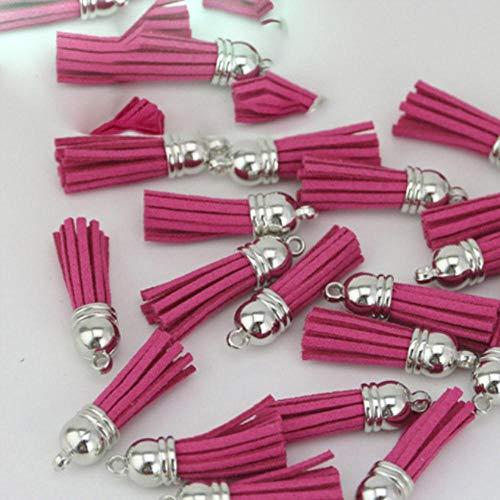 ALENAOO (20 Stück/Los) Quaste Vintage Leder Quasten Fransen für Purl Makramee DIY Schmuck Schlüsselbund Handybänder Anhänger, Rose