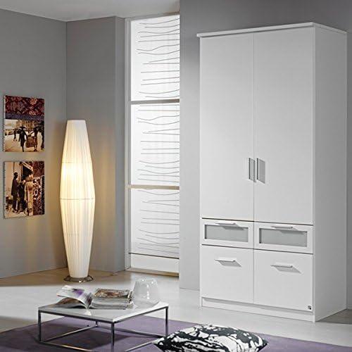 Kleiderschrank 2 Türen 4 Schubladen B 91 cm WeißKinderzimmer Jugendzimmer SchlafzimmerSchrank Drehtürenschrank W heschrank