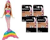 Barbie Dreamtopia - Muñeca Sirena Luces de Arcoíris, para niñas y niños 3-9 años (DHC40) + Duracell - Pilas Especiales alcalinas de botón de 1.5V, Paquete de 8 Unidades