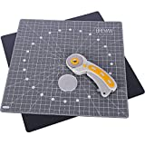 WA Portman Rotating Cutting Mat and Rotary Cutter Set - Fabric Cutting Board for Sewing - 13x13 Inch Self Healing Cutting Mat for Sewing Quilting - Rotary Fabric Cutter - 5 Extra Blades
