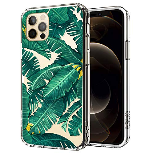 MOSNOVO Tropical Banana Leaves Pattern Designed for iPhone 12 Case 6.1 Inch/Designed for iPhone 12 Pro Case 6.1 Inch,Clear Case with Design,TPU Bumper with Protective Hard Case Cover