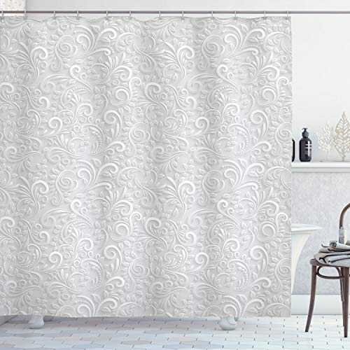 Ambesonne Grey Shower Curtain, Classic Floral Swirling and Curving Victorian Pattern Embossing Effect Branches Art Graphic, Cloth Fabric Bathroom Decor Set with Hooks, 75' Long, Pale Grey