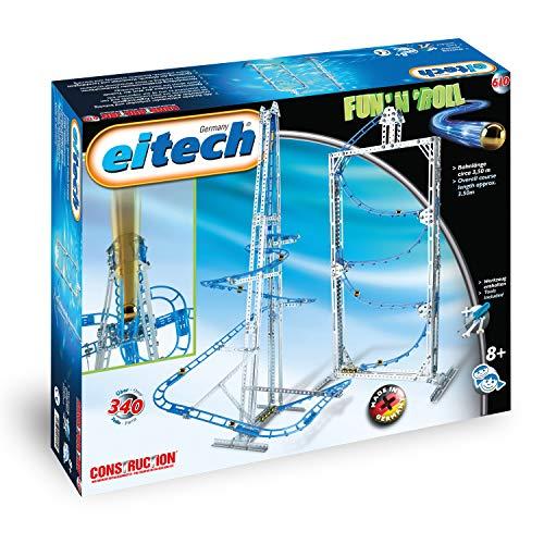 EITECH 00610 Metallbaukasten - Kugelbahn Set Fun n Roll, 340-teilig