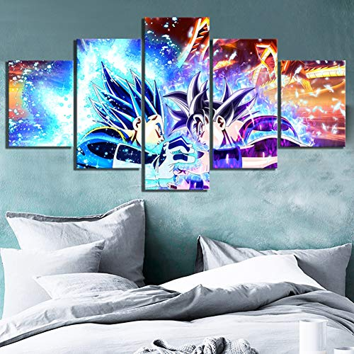 ZEMER Animation Goku Vs Vegeta Dragon Ball Poster Leinwanddrucke 5 Stücke Wandkunst Dekoration Für Wohnzimmer,B,20x35x2+20x45x2+20x55x1