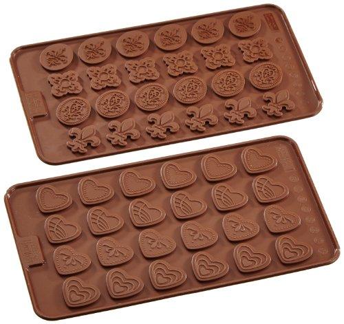 Birkmann 1010727010 chocolade en decor, hartjes en ornamenten, kunststof, grijs, 5 x 3 x 2 cm