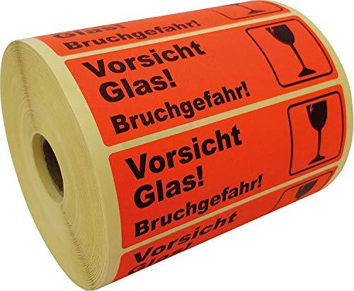 """PROLAC – 1000x """"VORSICHT GLAS"""" Warnhinweis Aufkleber (Warnaufkleber) für zerbrechliche Warensendungen   Sticker selbstklebend   Warnetiketten Bruchgefahr   Kein Klebeband / Kleberolle"""