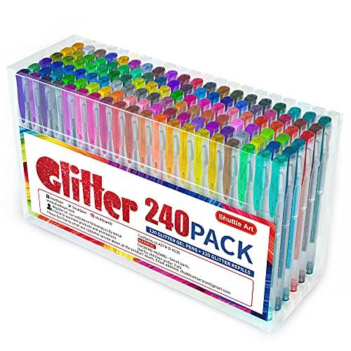 Pack 240 - Bolígrafos de tinta de purpurina