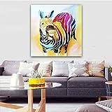 ganlanshu Cuadro En Lienzo Decoración Colorida del hogar de la Pared de la Cebra para el Cartel de la Sala de estar70x70Pintura sin Marco