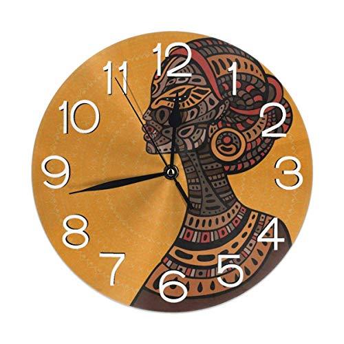 Decoración del hogar Hermosa Mujer Africana Reloj de Pared Redondo Acrílico Silencioso Relojes Decorativos Que no Hacen tictac