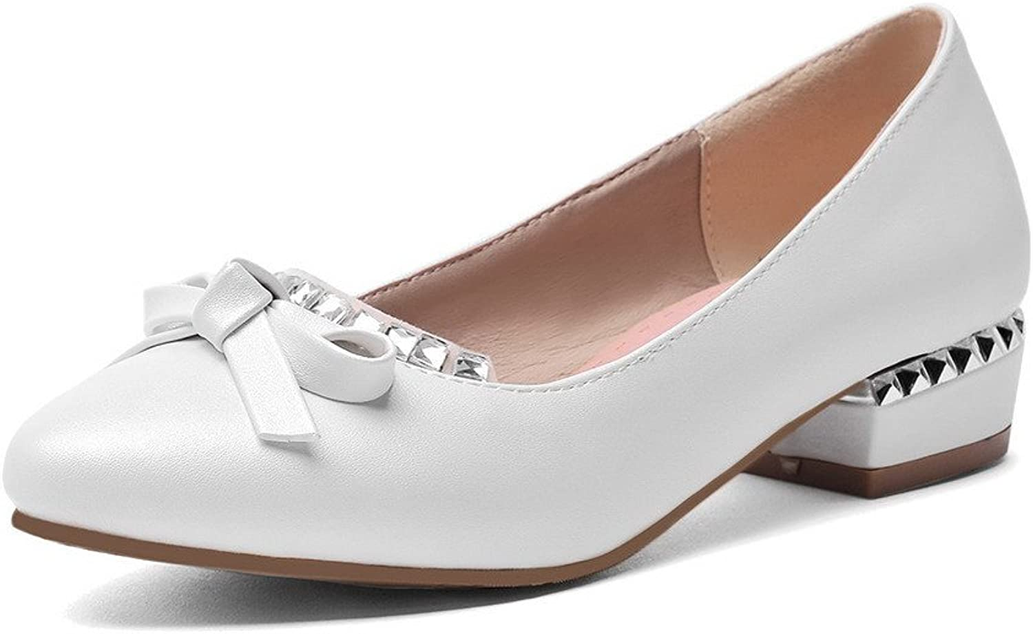 AllhqFashion Women's Pointed Closed Toe Pull On Pu Solid Low Heels Pumps-shoes