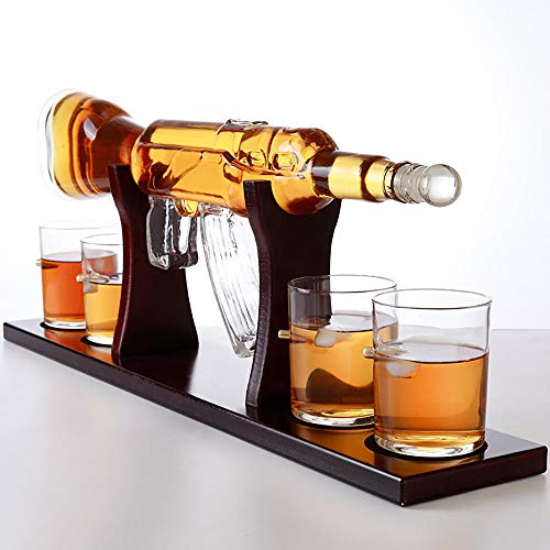 Whiskey Glass Decanter Set, Submachine Gun-Shaped High Borosilicate Glass Bottle 800Ml, 4 Wine Glasses And 1 Wooden Holder, Wine Accessories Gift Set, Holiday