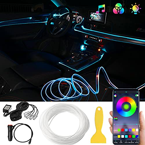 Interior Car Lights, LED Car Strip Lights 5 in 1with 236 inches Fiber Optic, Bluetooth App Control Car Light Kit, DIY Mode and Music Sync Ambient Lighting Kits with Car Charger, DC 12V