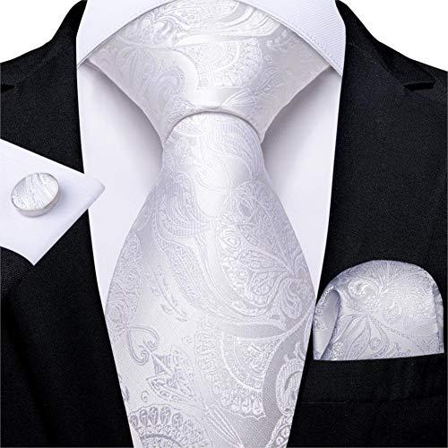 WOXHY Cravate Homme Blanc Argent Paisley Design Cravate De Mariage en Soie pour Hommes Hanky Bouton De Manchette Cravate Ensemble De Mode Bussiness Party