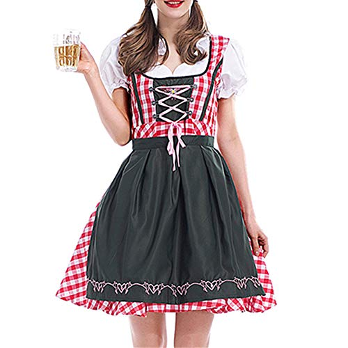 Women's German Oktoberfest Costume Adult Dirndl Traditional Bavarian Beer Carnival Halloween Fraulein Cosplay Maid Dress Outfit (Red Plaid, L)