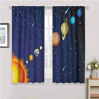 Jinguizi Space Light Curtain Solar System with Sun Uranus Venus Jupiter Mars Pluto Saturn Neptune Image Boys Room Decor Dark Blue Orange 72 x 63 inch