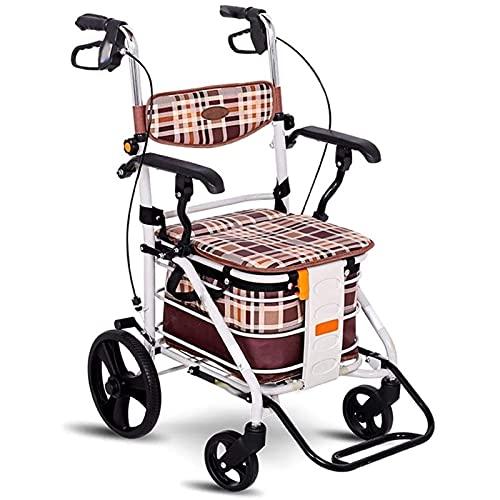 ZLQBHJ Andador, Standard andadores Walker Old Trolley Puede Sentarse Ancianos Compras Plegable extremidad Inferior Ayudas for Rehabilitación de Movilidad Reducida de Cuatro Ruedas Vespa