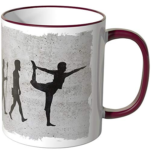 JUNIWORDS Tasse - Wähle Motiv & Farbe -'Evolution Yoga' - Bordeaux