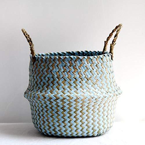 Decor handgemaakte rieten opbergmand opvouwbare wasmand stro patchwork Rieten mand zeewier gestreepte bloemenmand, blauw, 32cmX28cm