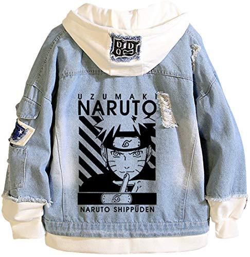 PANOZON Ragazzi Stampato con Naruto Giacca di Jeans Felpa con Cappuccio Hoodies (S, Blu AHT-5)