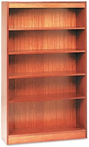 Amazon Com Alera Ale Square Corner Wood Veneer Bookcase Three Shelf 35 5 8 X 11 3 4 X 36 Mahogany Furniture Decor