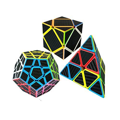 Wings of Wind - Etiqueta de la Fibra del carbón Cubo mágico Juego del Rompecabezas de Pyraminx, Megaminx, Skewb Cubo - Paquete 3