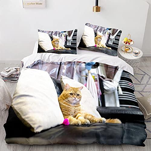 Conjunto de ropa de cama de la cubierta del edredón del gato 3D niños y niñas ubierta de colcha y undas de almohada Patrón de gato Cubierta de colcha Conjunto de ropa de cama-S_135x200cm (2pcs)