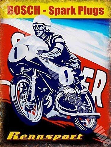 RKO Bosch Super Candele Rennsport Moto Moto Metallo/Insegna in Acciaio - 20 x 30 cm