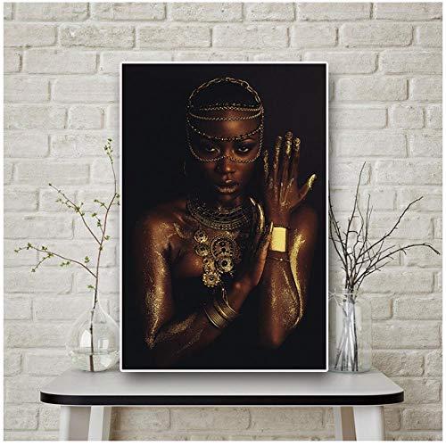 Zhaoyangeng Afrikaanse Vrouw met Ketting Zwart en Goud Afrikaanse Vrouw Canvas Schilderij Posters en Print Foto voor De Woonkamer- 50X70Cm Geen Frame