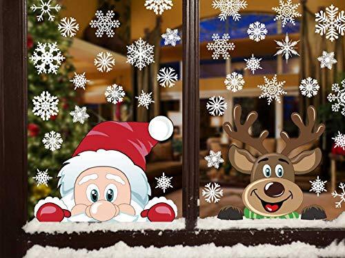 Adesivi Decorativi Natalizi,Yuson Girl Romantic Atmosphere Natale Fiocchi Di Neve Finestra Decori Adesivi per Natale Partito Casa Bambini Decor