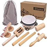 Ehome Toddler Musical Instruments, Natural Wood Instruments for Babies Percussion Instruments Toy Sets for Kids Preschool Educational Eco-Friendly Wooden Toys with Storage Bag for Boys and Girls