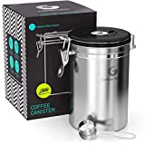 Coffee Gator Coffee Canister- Stainless Steel Coffee Storage & Containers- Airtight Canisters Keep Beans Fresh- Date-Tracker Jar, CO2-Release Valve W/ Scoop - Large, Silver
