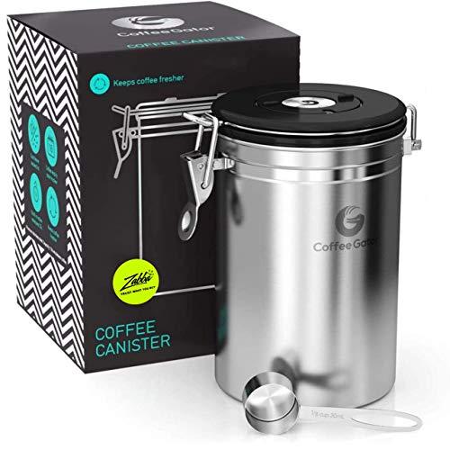 Coffee Gator-Edelstahl-Kaffeedose – Hält gemahlener Kaffee und Bohnen länger frisch – Behälter mit Datumsverfolgung, CO2-Freigabeventil und Messlöffel - Groß - Edelstahl