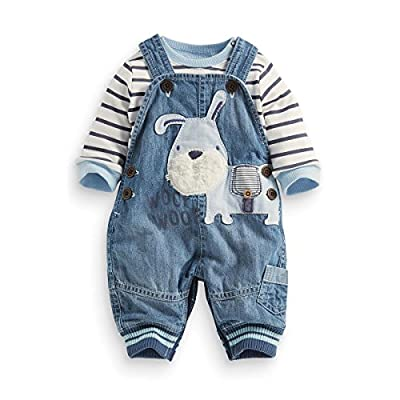 LvYinLi Cute Baby Boy Clothes Suit Toddler Boys' Striped Long Sleeve T-Shirt+Denim Overalls Jumpsuit Pants Outfits Sets (9-14 Months, Blue) from