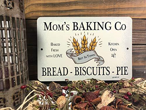 Señal de la casa de granjas para decoración del hogar, de la marca Mom's Baking Co, letrero de metal para hornear vintage, letrero retro para la granja, letrero de metal para decoración de pared, de aluminio, 30,5 x 45,7 cm