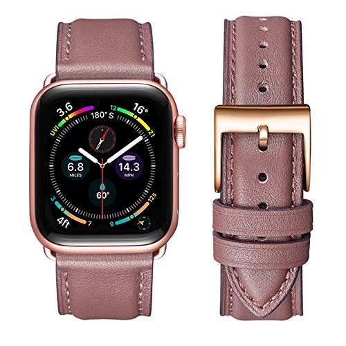 OMIU Square Bands Compatible for Apple Watch 38mm 40mm 42mm 44mm, Genuine Leather Replacement Band Compatible with Apple Watch Series 6/5/4/3/2/1, iWatch SE (Laverder/Rose Gold Connector, 38mm 40mm)