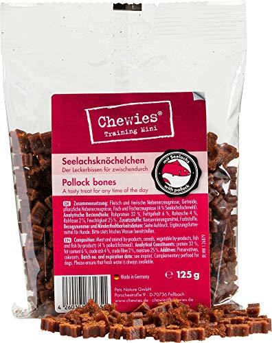 Chewies Hundeleckerli Training Mini Lachs Knöchelchen - 125 g - Hundesnacks zuckerfrei & mit hohem Fleischanteil - ideal als Trainings-Leckerli für Ihren Hund