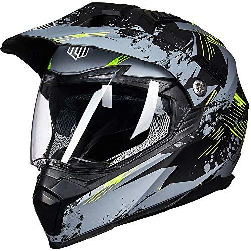ILM Off Road Motorcycle Dual Sport Helmet Full Face Sun Visor Dirt Bike ATV Motocross Casco DOT Certified (L, Grey-Yellow)
