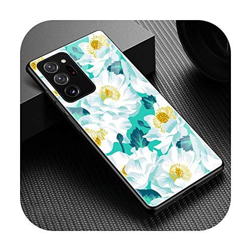 Funda de cristal templado de lujo para Samsung Galaxy Note 20 Ultra 5G 10 Plus 8 9 10 Lite linda flor floral cubierta coque Fundas-T01-para Samsung Note 10