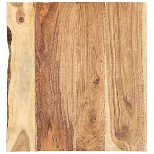 vidaXL Akazienholz Massiv Waschtischplatte Badezimmer Waschtisch Waschtischkonsole Platte Holzplatte für Aufsatzbecken Badmöbel Baumkante 60x55x2,5cm