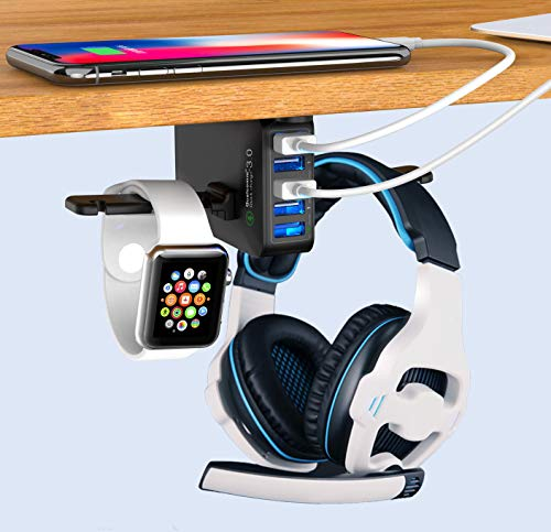 Headphone Stand with USB Charger QC 3.0, Ausfore Under Desk Headset Headphone Holder Hanger w/ 5 USB Ports for Computer Desk Gaming Setup Gaming PC Accessories