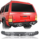 Hooke Road Cherokee XJ Rear Bumper with 2×18W LED Lights & Receiver Hitch Compatible with Jeep Cherokee XJ 1984-2001