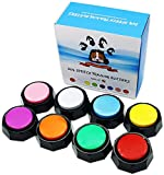 KiViRap Set of 8 Colors,Recordable Button,Dog Buttons - Pet Training Buzzer-Record & Playback Your Own Message - 30 Second Recording Button(Battery Included)
