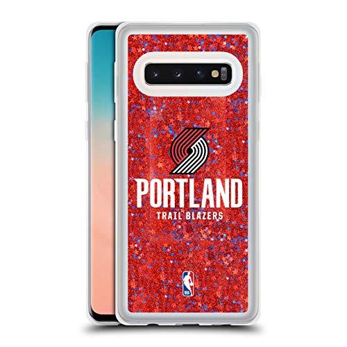 Officiële NBA Gewoon Portland Trail Blazers 2 Rode Clear Hybrid Liquid Glitter Compatibel voor Samsung Galaxy S10