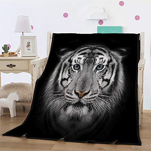WONGS BEDDING La Cara del Tigre Blanco Manta Animal Estampada, 100% Fi