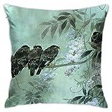 Funda de almohada decorativa para el hogar, diseño de luna nocturna, flores y pájaros de primavera, para regalo, para el hogar, sofá, cama, coche, 45,7 x 45,7 cm