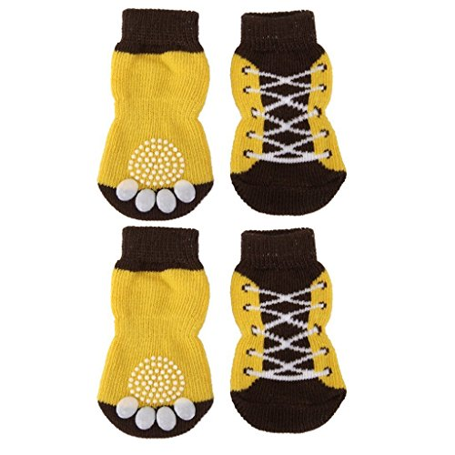 Soccik Hundesocken Haustier Hunde Rutschfeste Socken Katzen Hausschuhe Schnuersenkel Muster Pfotenabdruecke Socks 4 Stück Gelb